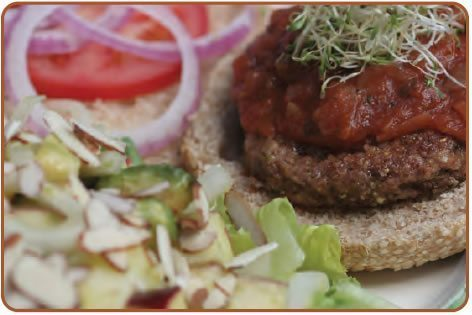 Oat-rageous-Bean Burgers and Apple Avocado Salad